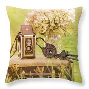 Vintage Camera And Case Throw Pillow