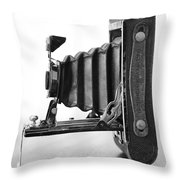 Vintage Camera - Black And White Throw Pillow