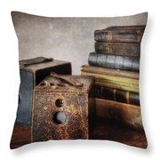 Vintage Cameras And Books Throw Pillow
