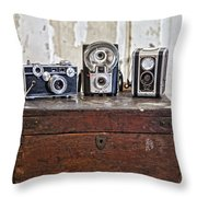 Vintage Cameras At Warehouse 54 Throw Pillow