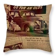 Vintage Car Advertisement 1939 Oldsmobile On Worn Faded Paper Throw Pillow