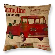 Vintage Car Advertisement 1961 Ford Econoline Truck Ad Poster On Worn Faded Paper Throw Pillow
