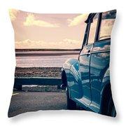 Vintage Car At The Beach  Throw Pillow