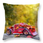 Vintage Car With Autumn Leaves Throw Pillow