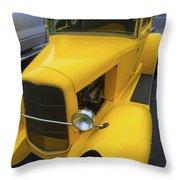 Vintage Car Yellow Throw Pillow