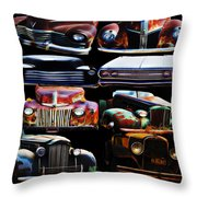 Vintage Cars Collage 2 Throw Pillow