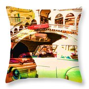 Vintage Cars Collage Throw Pillow