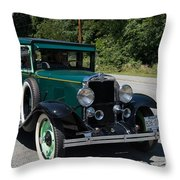 Vintage Cars Green Chevrolet Throw Pillow