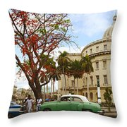 Vintage Cars Parked On A Street Throw Pillow