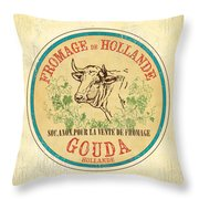 Vintage Cheese Label 1 Throw Pillow by Debbie DeWitt