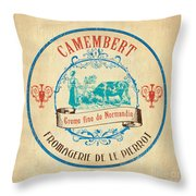 Vintage Cheese Label 3 Throw Pillow by Debbie DeWitt
