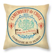 Vintage Cheese Label 4 Throw Pillow by Debbie DeWitt