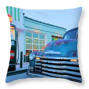 Vintage Chevrolet At The Gas Station Throw Pillow
