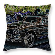 Vintage Chevy Corvette Black Neon Automotive Artwork Throw Pillow