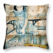 Vintage Chinese Beauty Advertising Poster In Shanghai Throw Pillow