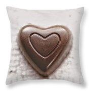 Vintage Chocolate Heart Throw Pillow