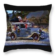 Vintage Christmas Car Throw Pillow