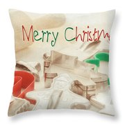 Vintage Christmas Cookie Cutters  Throw Pillow