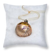 Vintage Christmas Ornament In Snow Throw Pillow