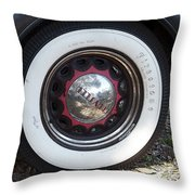 Vintage Chrysler Automobile Wide Whitewall Tire Poster Look Usa Throw Pillow