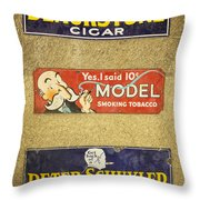 Vintage Cigar And Tobacco Signs Dsc07152 Throw Pillow