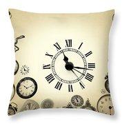 Vintage Clocks Throw Pillow