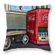 Vintage Coca-cola And Rocket Wagon Throw Pillow