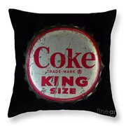 Vintage Coca Cola Bottle Cap Throw Pillow