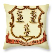 Vintage Connecticut Coat Of Arms - 1876 Throw Pillow