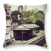 Vintage Corfe Castle Throw Pillow