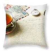 Vintage Correspondence Throw Pillow