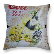 Vintage Cott Fruit Juice Sign Throw Pillow