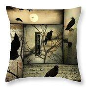 Vintage Crow Art Collage Throw Pillow