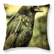 Vintage Crow Throw Pillow