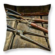 Vintage Curling Iron  Throw Pillow