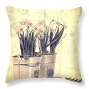 Vintage Daffodils Throw Pillow