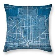 Vintage Detroit Rail Concept Street Map Blueprint Plan Throw Pillow