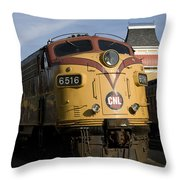 Vintage Diesel Locomotive Throw Pillow