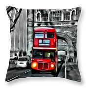 Vintage Double Decker In London Throw Pillow