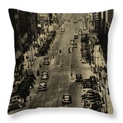 Vintage Downtown View Throw Pillow
