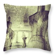 Vintage Dressforms With Abstract Grunge Background Throw Pillow