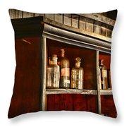 Vintage Druggist Shelf Throw Pillow