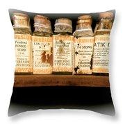 Vintage Dye Bottles Throw Pillow