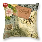 Vintage Eiffel Tower Paris France Collage Throw Pillow
