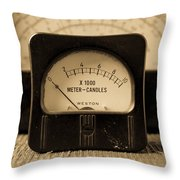 Vintage Electrical Meters Throw Pillow