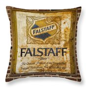 Vintage Falstaff Beer Sign Square Dsc07179 Throw Pillow