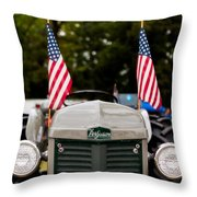 Vintage Ferguson Tractor With American Flags Throw Pillow