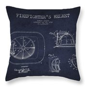 Vintage Firefighter Helmet Patent Drawing From 1932 - Navy Blue Throw Pillow