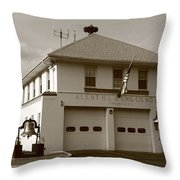 Congers, New York - Vintage Firehouse Throw Pillow