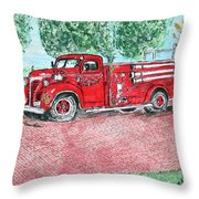 Vintage Firetruck Throw Pillow